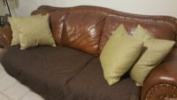 Leather couch, Chair And ottoman