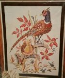 Framed cross stitch of pheasant with baby chick Free Shipping