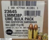 For Sale: 1000 rds 9mm $199