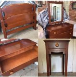 Antique,solid wood,1930/1940s set. 2 twin beds, one nightstand, dresser and 2 new box springs. Sold as a set only.