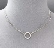 """DUE NOV. 30! DAINTY BOUTIQUE 15-18"""" SILVER TONE DOUBLE STRAND CHAIN NECKLACE WITH CIRCLE RING PENDANT"""