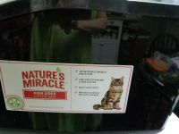 Great litter box by Nature's Miracle. SEE ALL 3 PHOTOS. Easy clean non stick surface. Front is easy for older cats to get in.