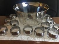Antique silver ombr punch bowl (with 12 glasses)