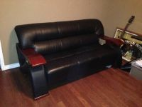 Nice Leather Couch and desk