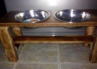 Elevated Dog Diner for food & water. Hand crafted from reclaimed oak.