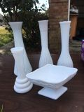 Milk glass pieces-4 vases and 1 bowl