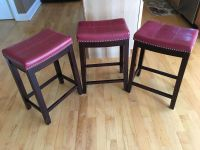 Set of 3 red barstools