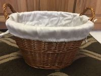 Cute wicker basket with fabric liner 11x16 x10 h