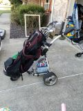 Electric golf club cart & complete set of clubs