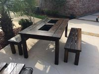$800, NEW Solid Wood IndoorOutdoor Table  Benches w Built-in Ice Chests
