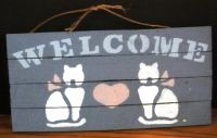 Cat Welcome Blue Decorative Handmade Rustic Wooden Sign 12 x 6 with Heart