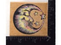 SLEEPY MOON A260E Rubber Stampede Stamp Celestial Sky Stars