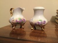 Antique Muffineer Sugar Bowl Shaker and Creamer. Hand Painted in Germany.