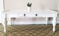 WHITE FARMSTYLE COFFEE TABLE W/DRAWER