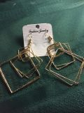 Gold layered square dangle earrings.new