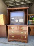 thomasville solid wood entertainment center ( includes t.v. )