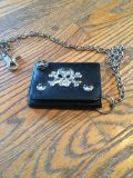Men's tri fold wallet with chain and ring
