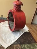 Red rustic candle holder