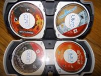 PSP games and a movie with a travel case