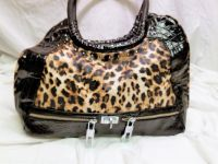 NWOT Black Top Handle Alligator Croc Leopard Cheetah Shoulder Bag Purse Tote