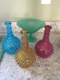 Vintage glass. 3 pc set and candy dish $40/all