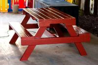 Kids wooden picnic tables (GreenwoodMidland)