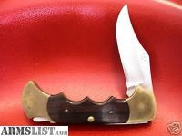 For Sale: Vintage RIGID USA R9 Apache Folding Hunting Knife, brass, rosewood