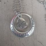 New handmade Mom to the moon and back necklace