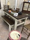 Cute farm house table with 2 benches and two chairs
