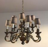 Vintage Marbro Lamp Co Chandelier Pewter Silver Brush Finish, 12 Light With Shades