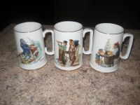 Norman Rockwell Mugs - Set of 3