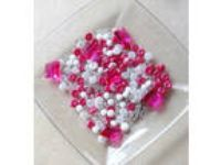 Pink White Clear Glass Bead Kit, Jewelry Making Kit