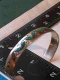 Vintage native sterling turquoise/coral cuff