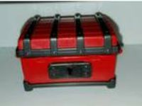 1990 Vintage Playmobil Red and Black Toy Treasure Chest