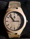Woodgrain Wooden Analog Wristwatch With Leather Strap New!