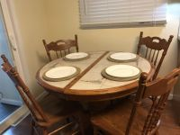 8 Piece Dining Room Set in Beautiful Oak with Inlaid Ceramic Tile Table Top