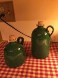 2- Green jugs with corks