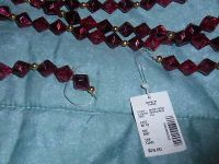 New Pretty Burgundy & Gold Beaded Holiday Garland. Decorate Tree or Home! 8 ft.