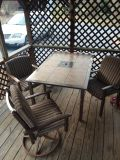 Brown Slate top patio rectangle table with 3 chairs one swivel with cushions and have extra slate squares are removable excellent condition