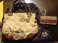 Coach brown and tan purse,wallet case