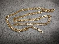 "Men's Gold over Silver 925 Anchor Chain Necklace 20.5""MM 6.25"