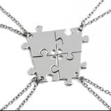Brand New Power of Four Puzzle Piece Necklace - Best Friends, Siblings, Family