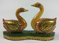 Beautiful Small Hand Carved Painted Wood Swans Birds Figurine Statue