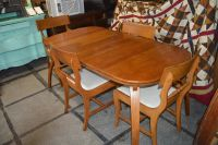 VINTAGE SOLID WOOD TABLE AND 4 CHAIRS
