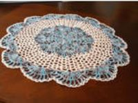 NEW Hand Crochet Doily Table Centerpiece Shaded Peacock Blue