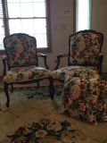Queen Anne style chairs, includes to pillows for couch