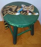 VINTAGE FOOT STOOL WITH CAT PAINTING