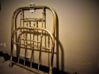 "Twin Bed ""Solid Polished Brass"" High Quality Headboard-Footboard+Frame.  Only one left."