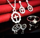 LADIES FASHION ALLOY SILVER COLOR STONE ON RING CRYSTAL NEW EARRINGS & NECKLACE
