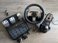 Logitech G27 racing wheel, pedals, and shifter